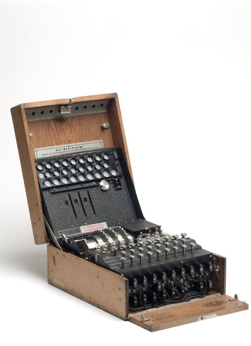 Three-ring Enigma cypher machine complete in wooden transit case, together with original German battery