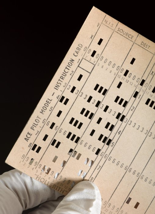 Detail of punch card for ACE pilot computer
