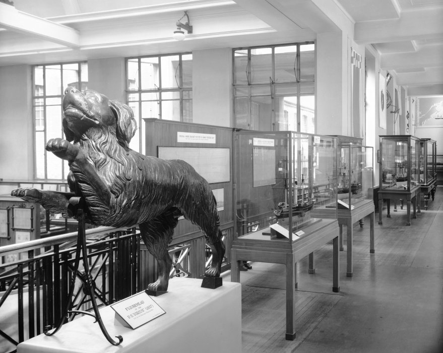 Figurehead of the PS Sirius (1837) on display in the One Hundred Years of Transatlantic Steam Navigation exhibition in the Shipping gallery, 1938