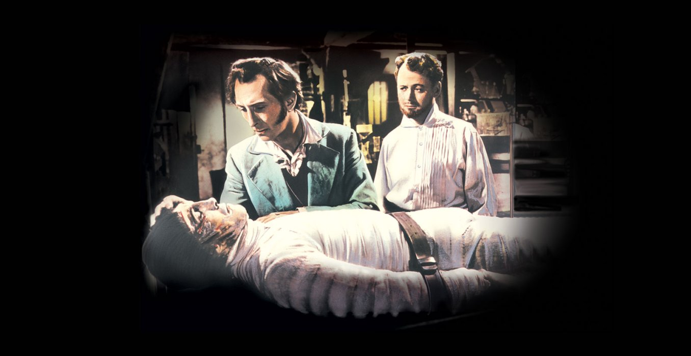 Image of Peter Cushing and Robert Urqhart in The Curse of Frankenstein