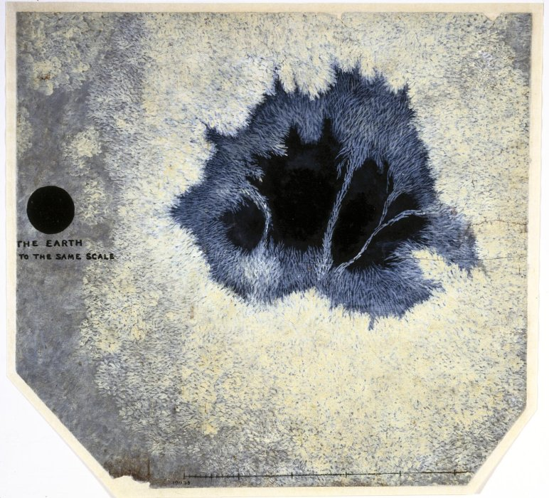A black and white painting made by James Nasmyth (1808-1890), in oil distemper and lampblack, showing the size of a sunspot against that of the Earth
