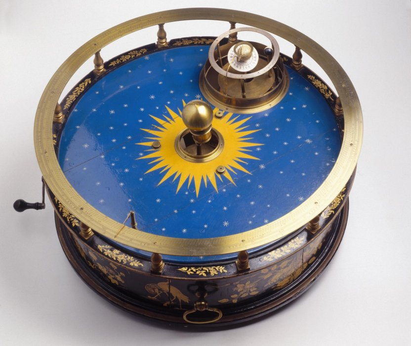 An orrery showing the sun and the planets