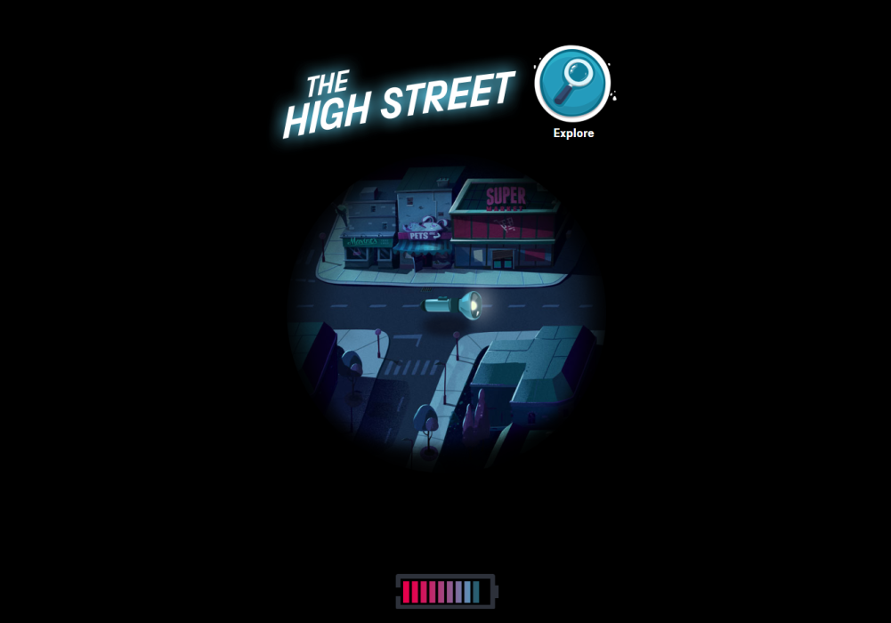 Screenshot from Total Darkness game showing High Street location