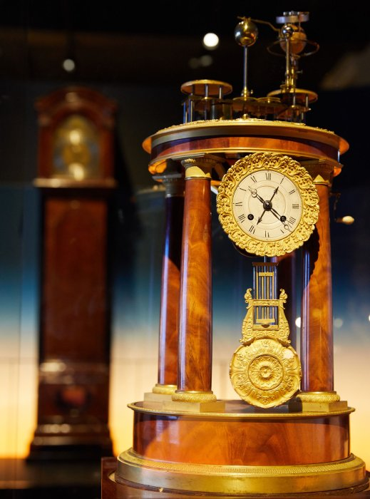 A detail of an 18th-century French clock in the Sun exhibition at the Science Museum in London