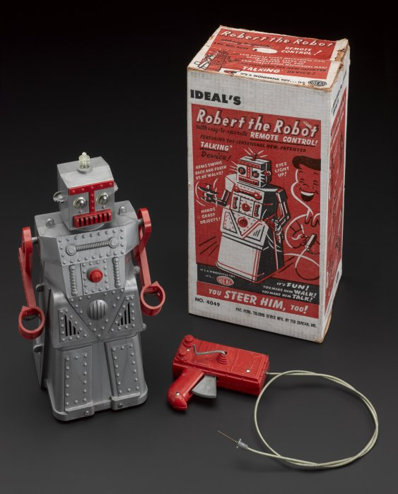 Robert the Robot with packaging, 1955, Ideal, USA.