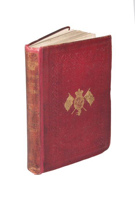 Red book with gold embossed cover, Engalnd and her Soldiers by Harriet Martineau