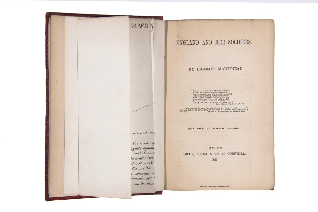 England and her Soldiers, book by Harriet Martineau, open to flyleaf