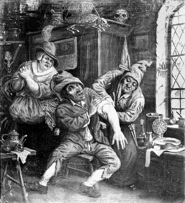 Two female barber surgeons treating a man in their shop
