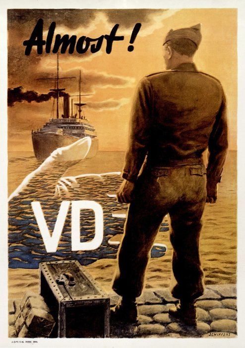 A soldier standing on the quay prevented from joining his ship by a shadowy hand representing VD.