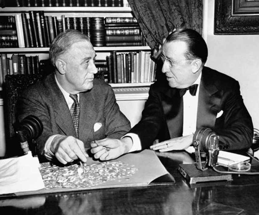 President F D Roosevelt and Brian O' Connor, head of the March of Dimes.
