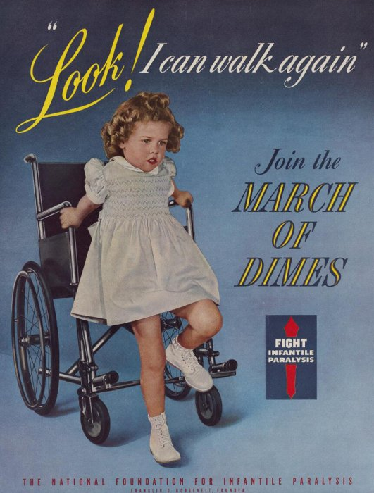 A girl getting out of a wheelchair on a March of Dimes poster