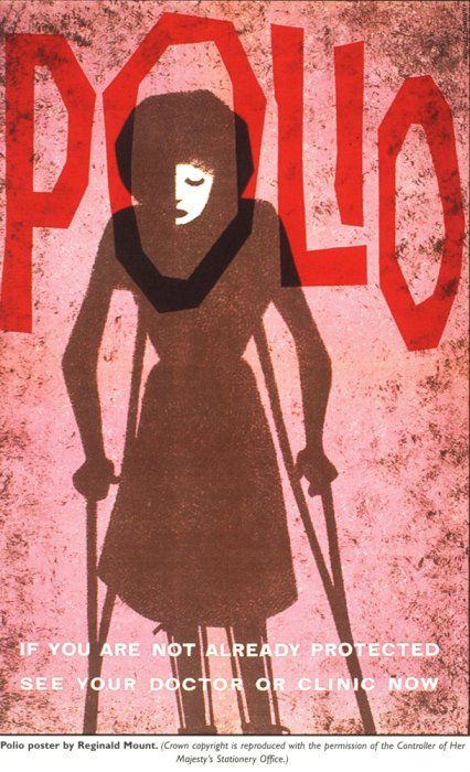 British public health postcard for polio showing a young woman in crutches