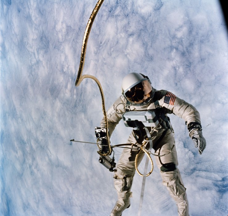 A photograph of an astronaut on a spacewalk taken in 1965