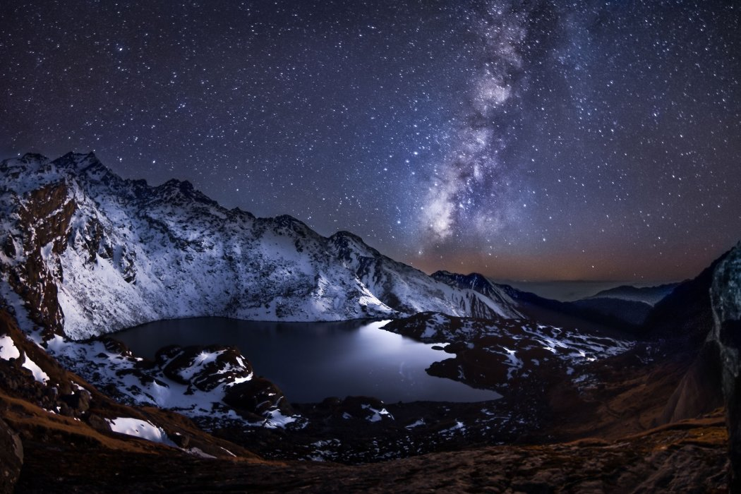 Night-time mountain landscape