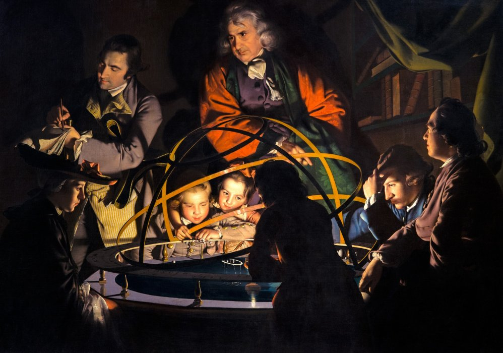A Philosopher Giving that Lecture on an Orrery in which a Lamp is put in the Place of the Sun by Joseph Wright
