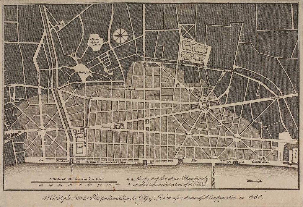 Drawing showing a plan for the rebuilding of london. This images shows the new layout for streets and parks