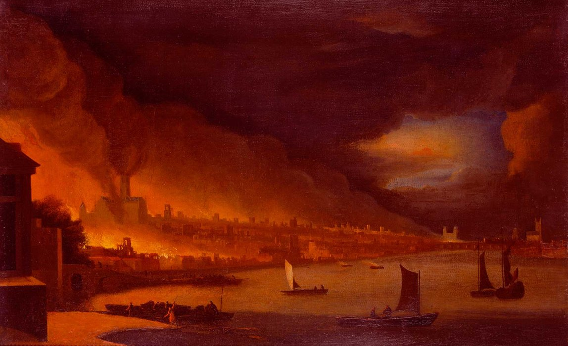 Painting of the great fire of London, showing the river thames in the foreground and a city on fire in the backgroud in a palette of red, orangee and yellow