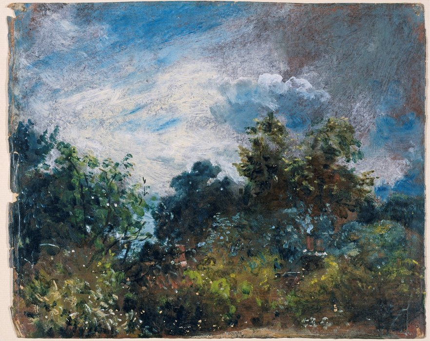Oil sketch 'Study of sky and trees' by Constable.
