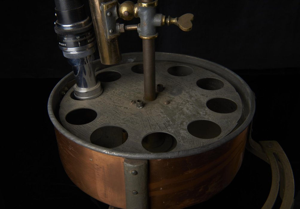 Metal chemistry apparatus against a black background