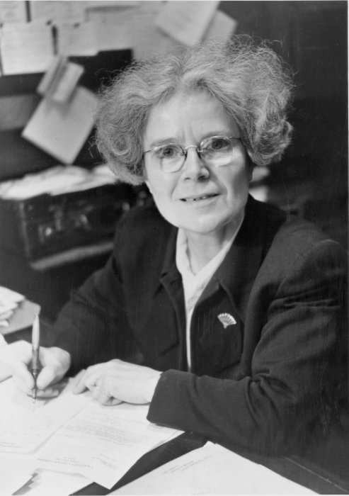 Kathleen Lonsdale writing at a desk