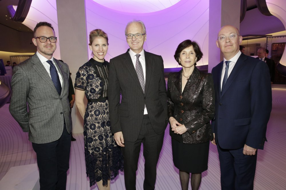 David and Claudia Harding, lead funders of Mathematics: The Winton Gallery, pictured at the gallery's formal opening alongside Dr David Rooney, Lead Curator, Ian Blatchford, Director, and Dame Mary Archer, Chairman of the Science Museum Group