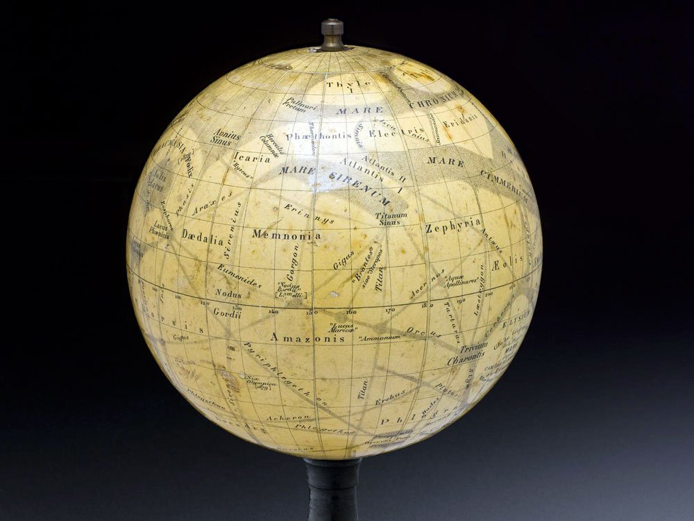 Mars globe, depicting Lowellian canal system.
