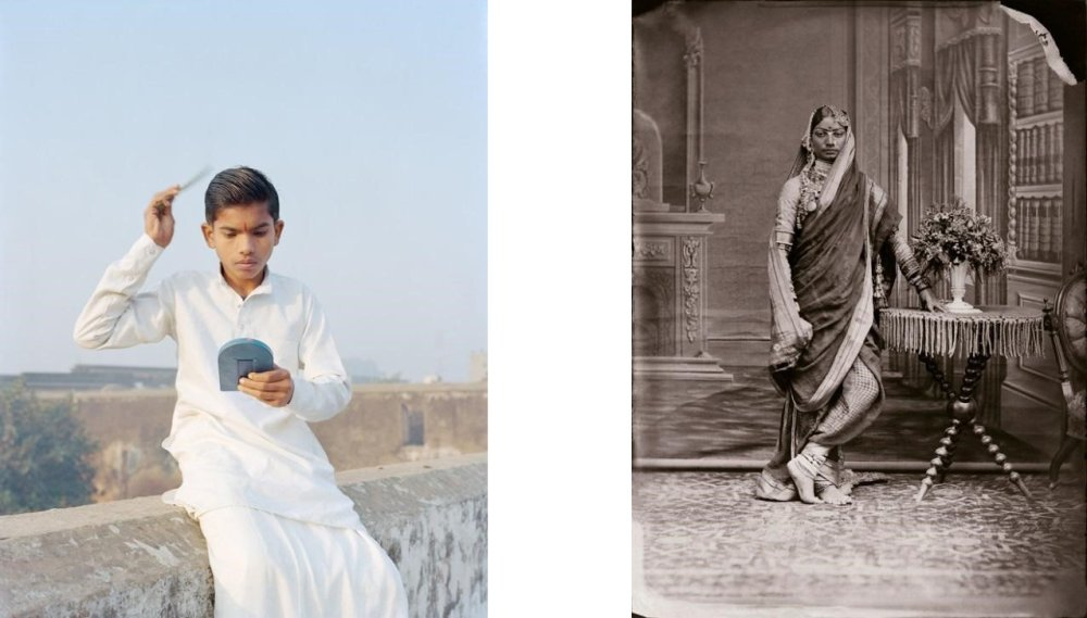 Left: Unidentified Woman of the Zenana, c.1870 (2012.04.0054-0028) © Trustees, Maharaja Sawai Man Singh II Museum, City Palace, Jaipur; Right: Rama Combing His Hair, Ayodhya, Uttar Pradesh, India, 2015, from the series A Myth of Two Souls (2013 –) © Vasantha Yogananthan