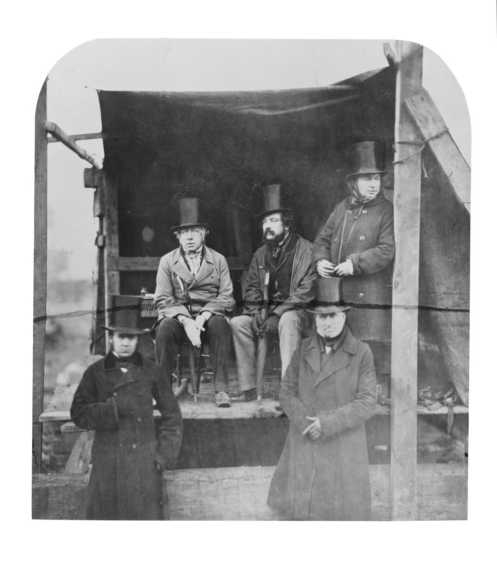 Isambard Kingdom Brunel, far right, with his colleagues at the launch of his ship the SS Great Eastern, 1857.