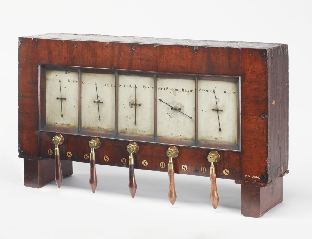 Five-needle train signalling instrument used on the London and Blackwall Railway, 1840