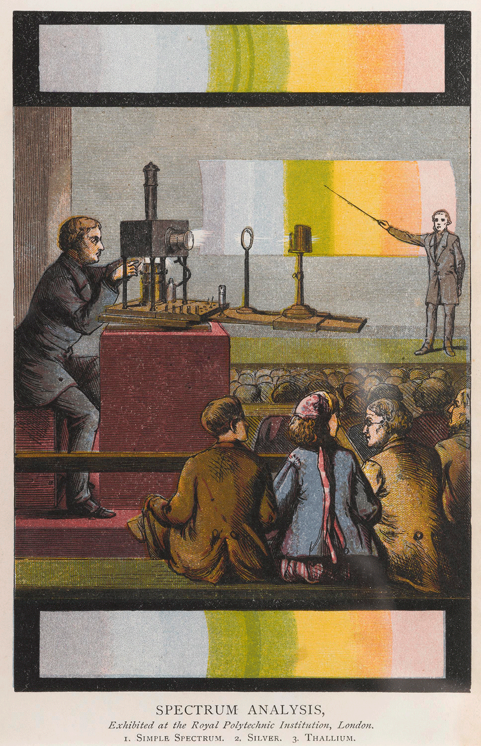Print. engraving, col.: 'Spectrum analysis, Exhibited at the Royal Polytechnic Institution, London'