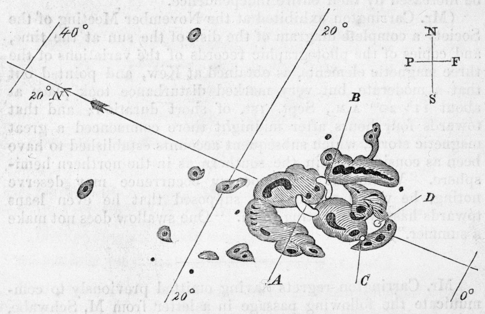 Diagram of sunspots drawn by Richard Carrington in 1859