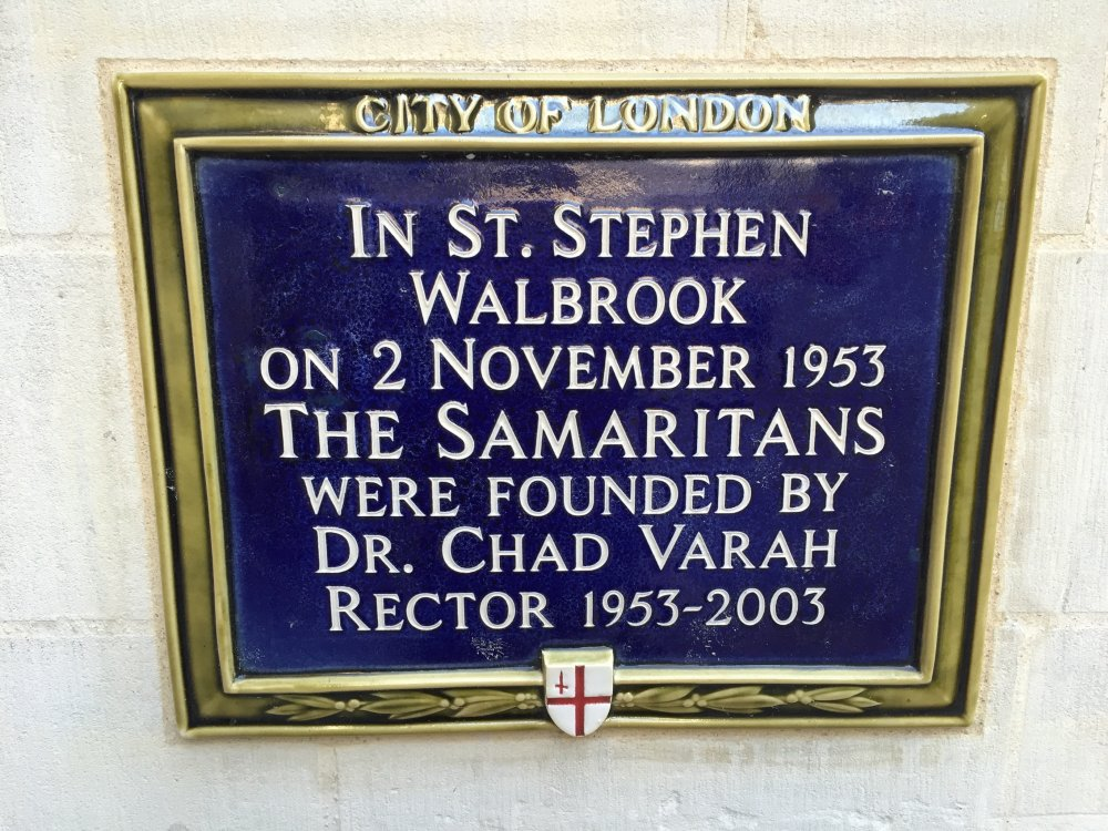 Plaque at St Stephen Walbrook church in London, commemorating the founding of the Samaritans