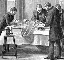 A 19th century operation under antiseptic condition using a carbolic spray