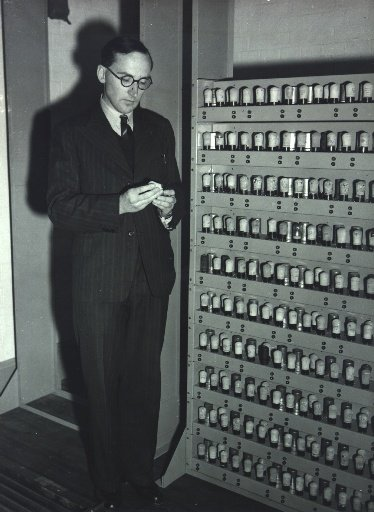 Maurice Wilkes with EDSAC 1 under construction, c.1949