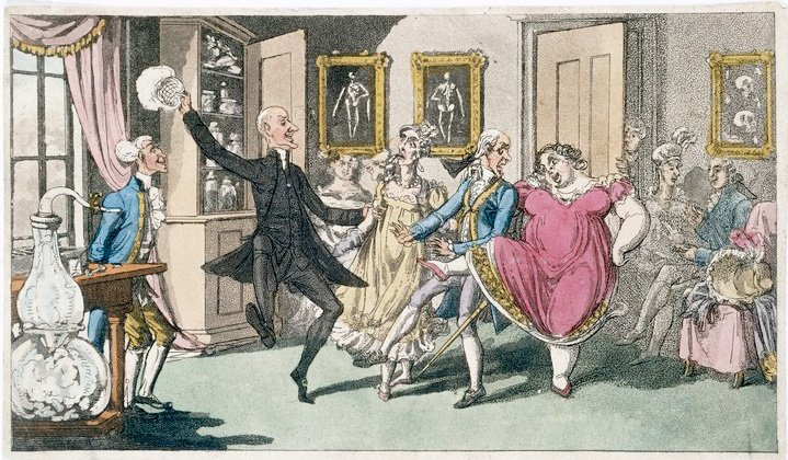 A group of 19th century people dancing from the effects of laughing gas