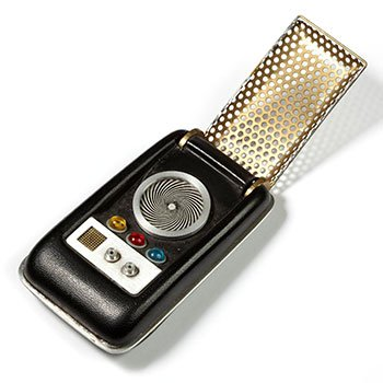 A Star Trek 'communicator' toy against a white background