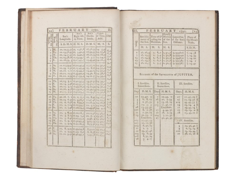 Nautical almanac for 1790, open to a page showing the Sun's position and eclipses of the satellites of Jupiter