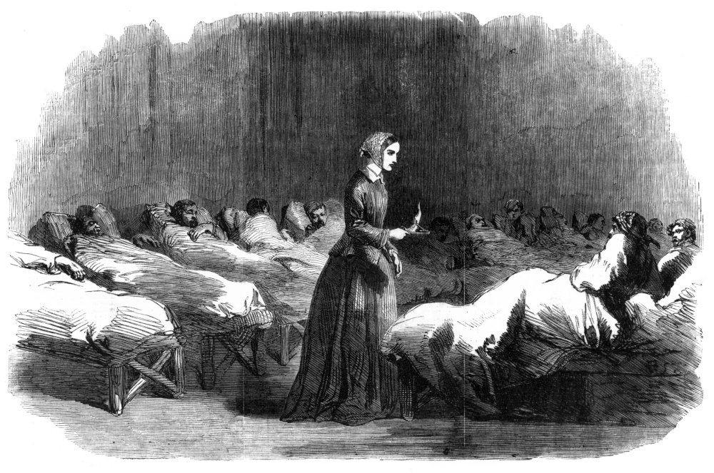Plate taken from 'The Illustrated London News', 24 February 1855, showing Florence Nightingale at a Crimean hospital