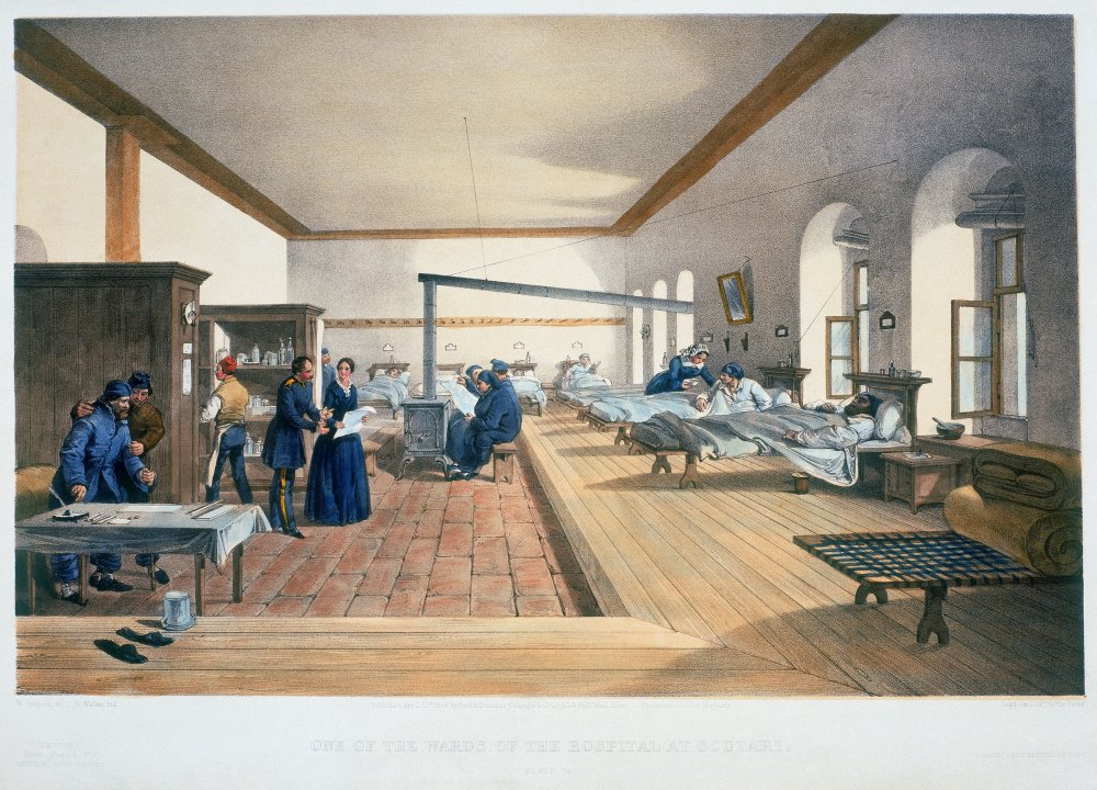 Lithograph by E Walker after the watercolour by William Simpson showing Florence Nightingale on a hospital ward in Scutari, Crimea, 1856