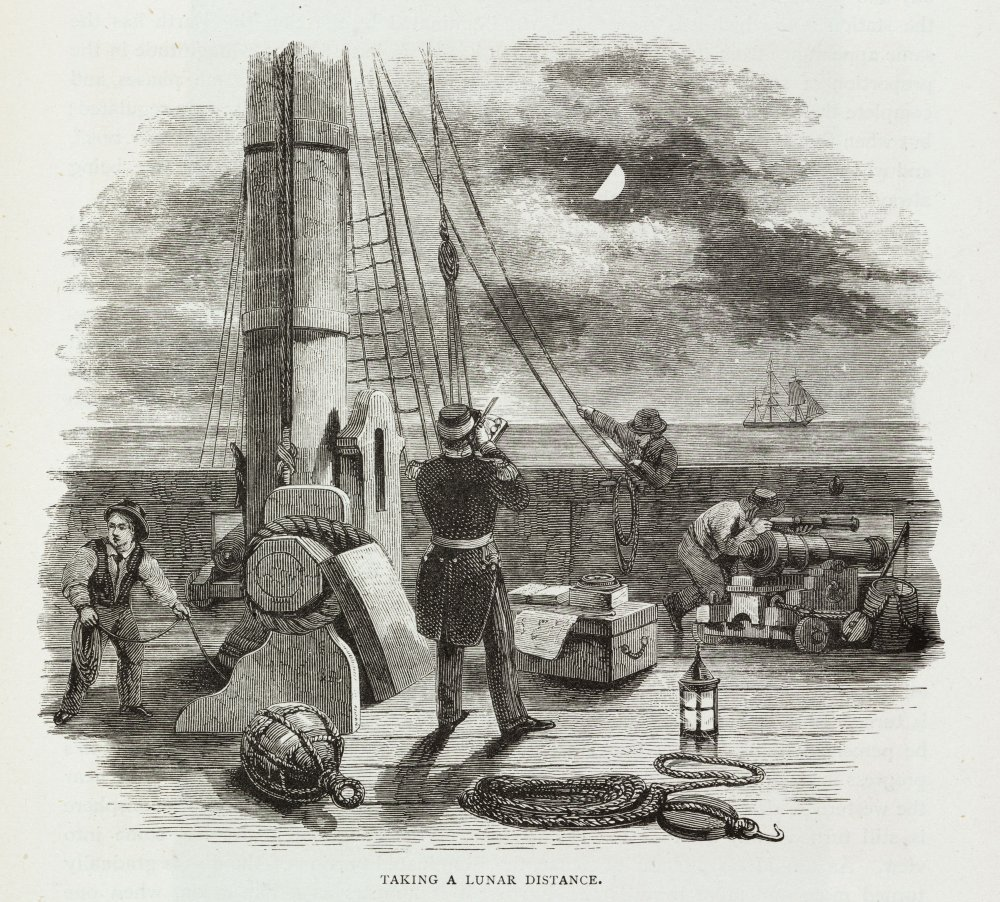 Engraving showing a naval officer measuring the position of the Moon with respect to the fixed stars from the deck of a ship at sea.