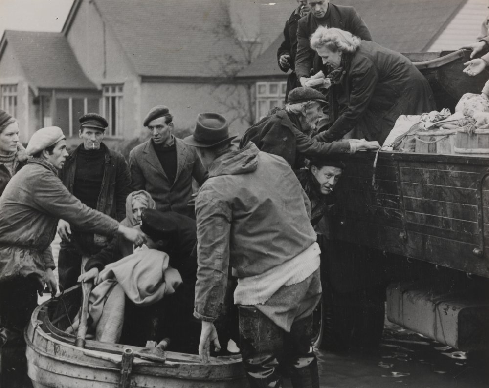 Canvey Island residents evacuating their homes after flooding, 1953
