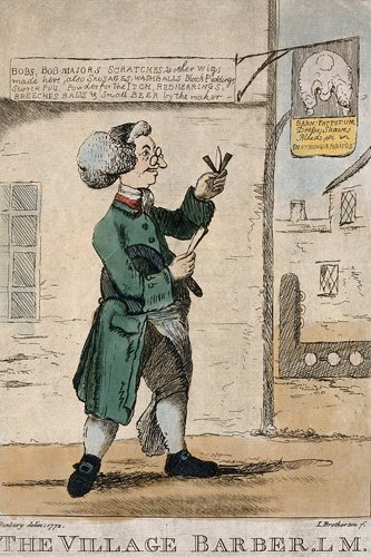 An 18th century barber standing infront of his shop with his razor and lancet
