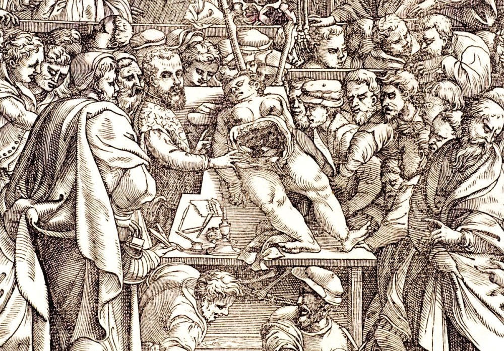 Woodcut of Andreas Vesalius dissecting a cadaver