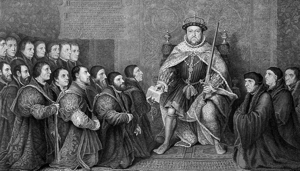 King Henry VIII presenting document of union to the associations of barbers and surgeons, 1540.