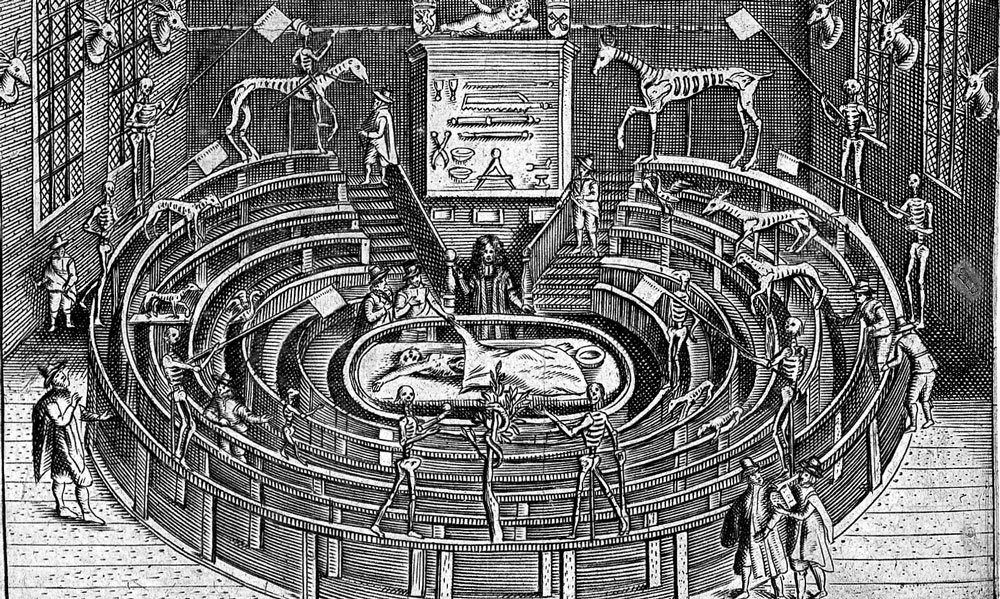 Drawing of the anatomy theatre at Leiden, Netherlands, 17th century