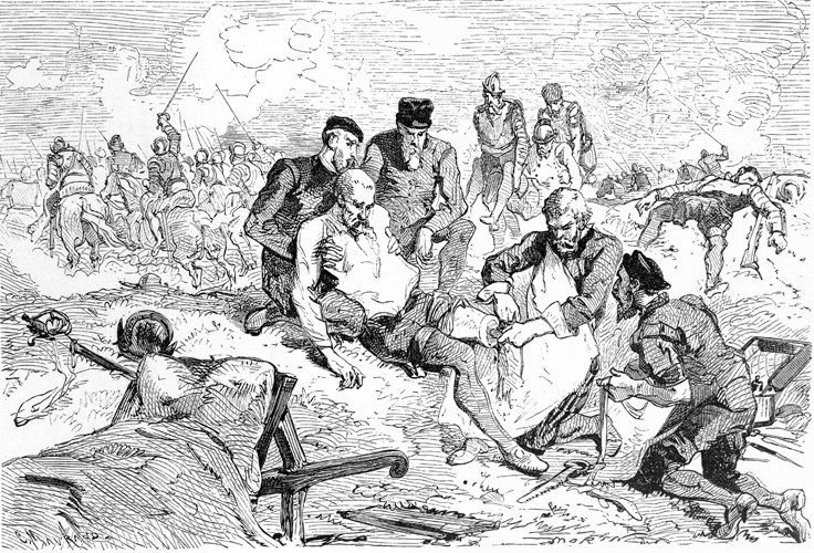 Print of Abroise Pare applying a ligature to a soldier's leg after amputation in the middle of a battlefield