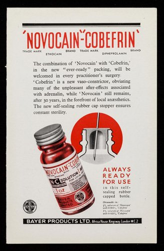 Advertisment for surgical anaesthetic Novocain