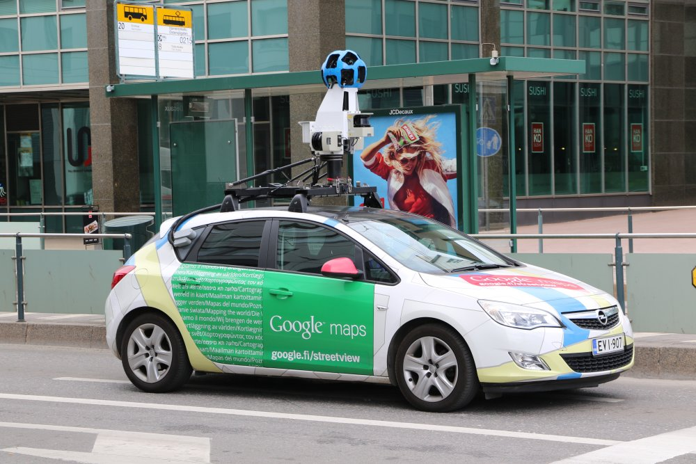 Google Streetview car in a city in Finland