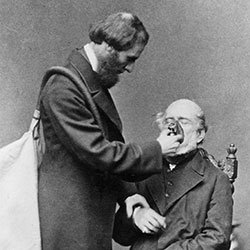 Photograph of an original photograph of Clover demonstrating how chloroform was administered with his apparatus, 1862.