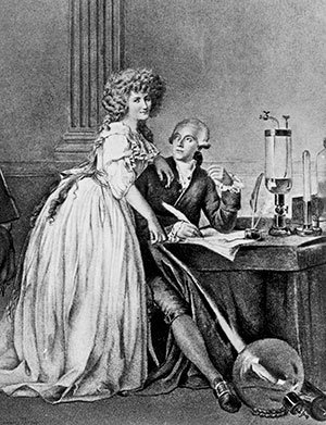 Engraving of Antoine Lavoisier, French chemist, and his wife, 1788.
